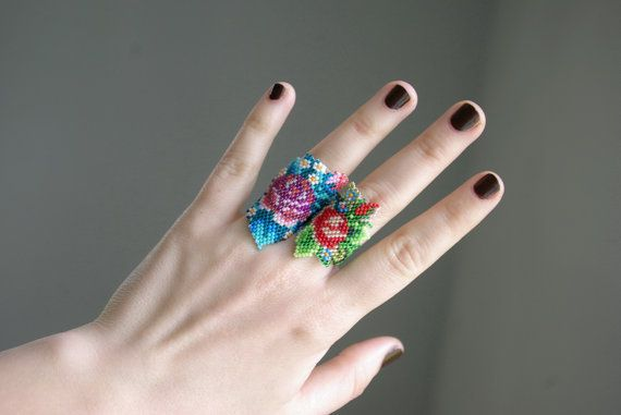Hand Beaded Ring.Floral ring.Flowers.Rose by nepinka on Etsy