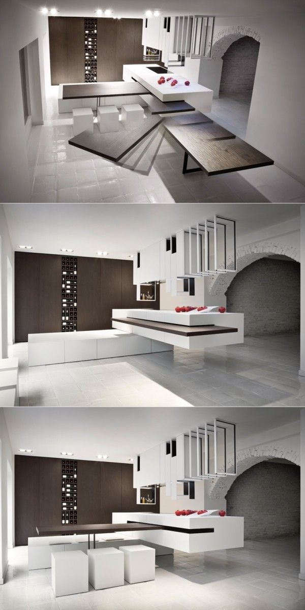Ingenious design of multi-functional furniture for a small space. www.mirabellointeriors.com