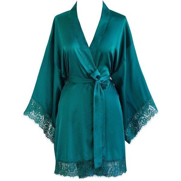 Lace Kimono Robe ($35) ❤ liked on Polyvore featuring intimates, robes, kimono bath robe, bridal kimono robe, kimono robe, bath robes and lace kimono