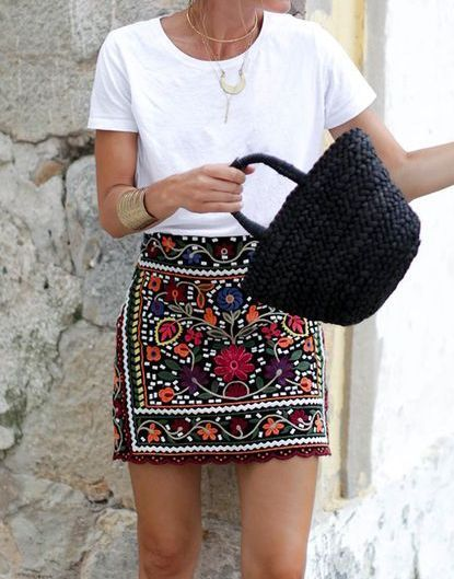 Women Bohemia Floral Embroidery High Waist Skirt - $28.70 Women Bohemia Floral Embroidery High Waist Slim Skirt