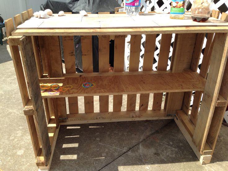 Home made tiki bar from 2 pallets backyard ideas for Homemade tiki bar pics