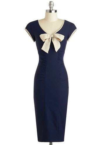Sheath a Lady Dress in Navy by Stop Staring! - Long, Blue, Tan / Cream, Bows, Trim, Ruching, Cocktail, Sheath / Shift, Cap Sleeves, Scoop, Solid, Vintage Inspired, 40s, Pinup, Variation