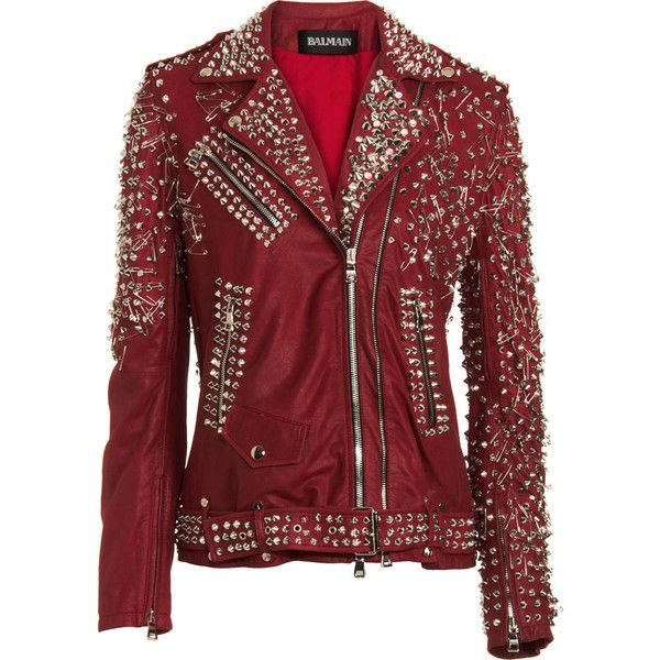Balmain Studded Biker Jacket (19 450 AUD) ❤ liked on Polyvore featuring outerwear, jackets, tops, leather jackets, coats, women, real leather jackets, studded leather jacket, red motorcycle jacket and balmain jacket