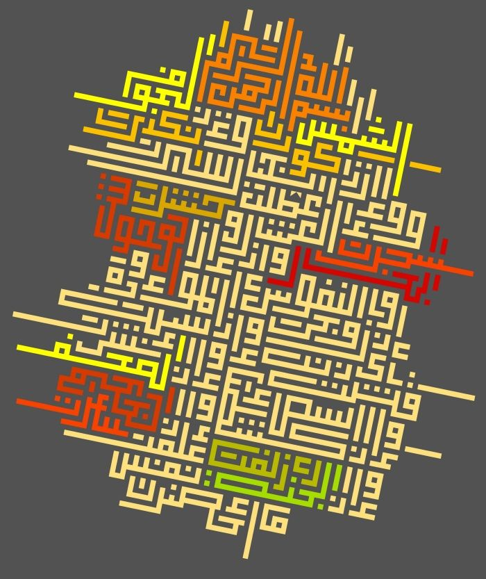 Surat Al taqweer, Ayat (1-14) - Kufi Square Font in free composition