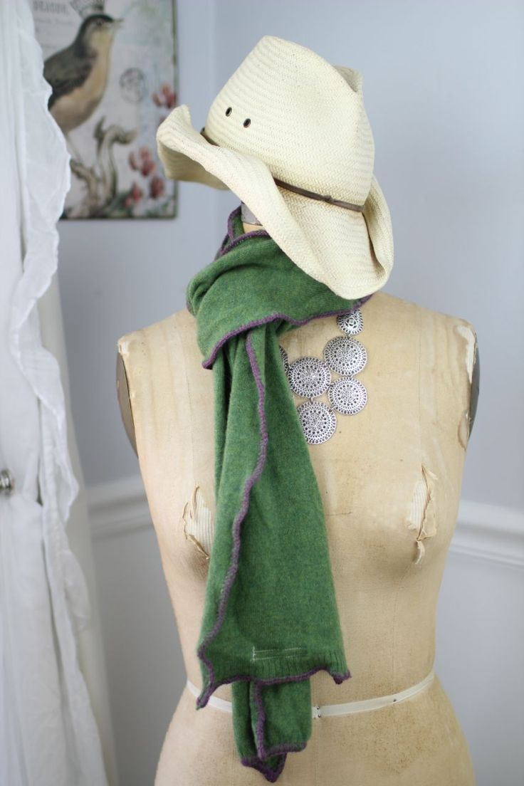 Green with purple trim cashmere scarf