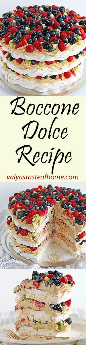 Boccone Dolce Recipe http://www.valyastasteofhome.com/boccone-dolce-recipe #cake #bocconedolcecake #dulcedelechecream #dessert #freshfruitcake