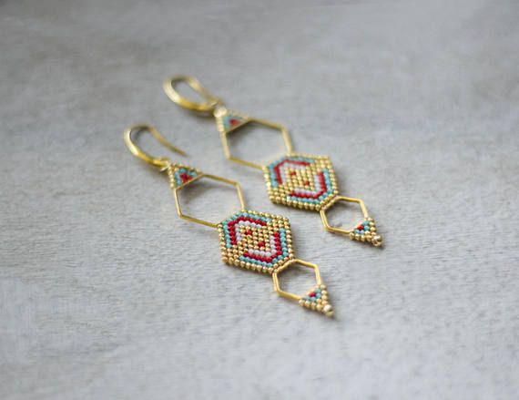 Boho Chic Earrings Ethnic Style Earrings Gold Hexagon