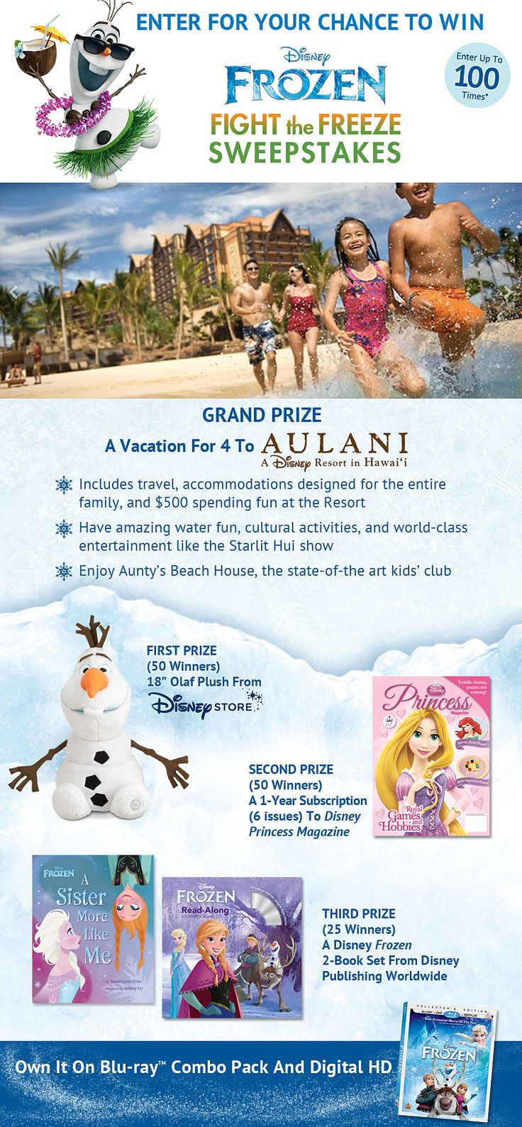 "Sweepstakes starts1/31/14, ends 6/30/14. you must be a member of DMR at the time of entry to enter the Sweepstakes. If you are not a member of DMR you may become a member by visiting http://www.DisneyMovieRewards.com/hula (the ""DMR Website""). Membership is free. 1 Grand Prize winner will receive a 5 day/4 night trip for 4 people (Grand Prize winner and up to 3 travel companions) to O'ahu, Hawaii."