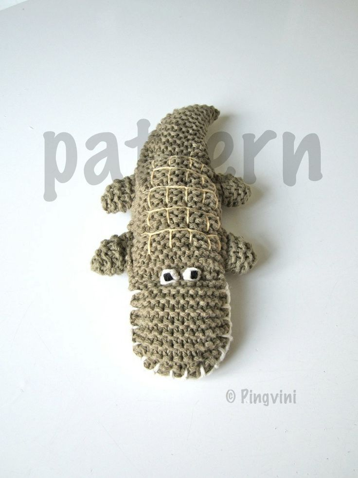 Crocodile knitting pattern PDF, knitted crocodile, tutorial, green, animal, toy, PDF file. $6.00, via Etsy.
