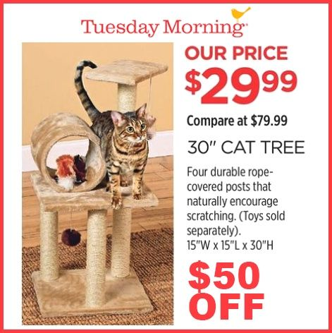 Tuesday Morning $50 OFF 30'' Cat Tree | Groupon