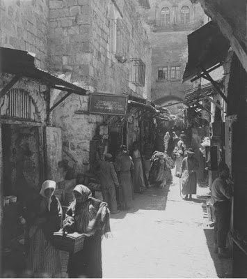 "Original caption: ""A Bazaar in Jerusalem"" (Credit: Keystone-Mast Collection, California Museum of Photography at UCR  ARTSblock, University of California, Riverside)"
