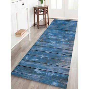 blue wood grain door print bathroom rug | blue wood, floor