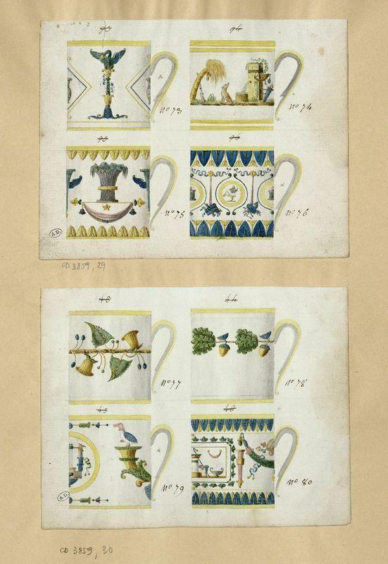 Anonyme 19e siècle (début) Modèles de tasses litron aquarelle, 16,6 x 21,7cm Les Arts Décoratifs, Paris, CD 3859.29-30