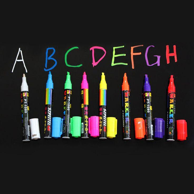 Envío Gratis 8 Colores Highlighter Líquido Fluorescente de la Tiza Marcador Neón Pluma Tablero De Escritura DEL LED 5 MM
