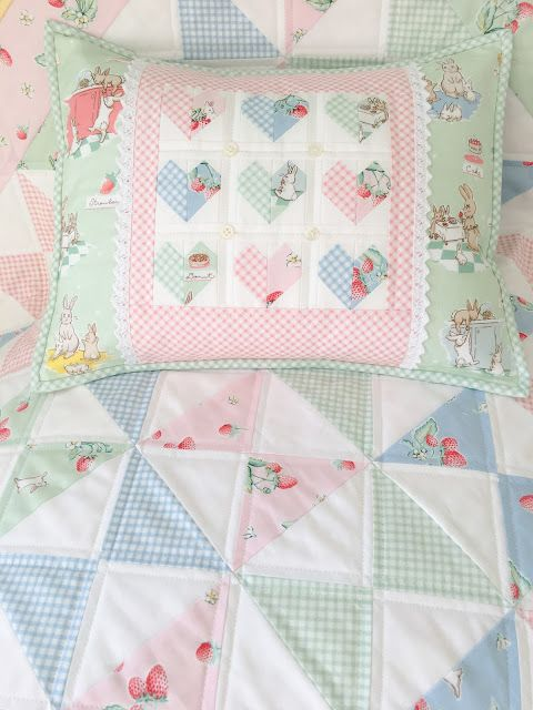 Carried Away Quilting projects for the Bunnies & Cream Blog Tour with Lauren Nash and Penny Rose Fabrics; patchwork heart pillow; Shoofly Crossing  Quilt; hourglass quilt
