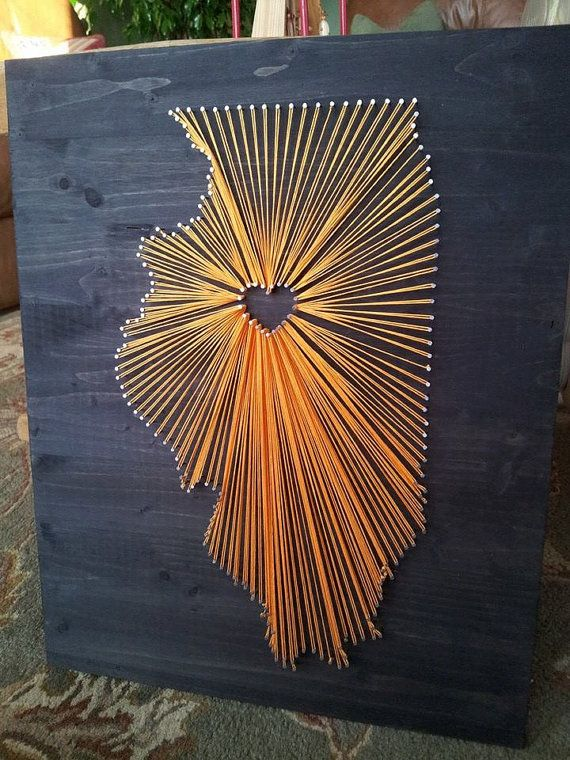 Illinois State String Art  Choose Your State by GrizzlyandCo, $40.00
