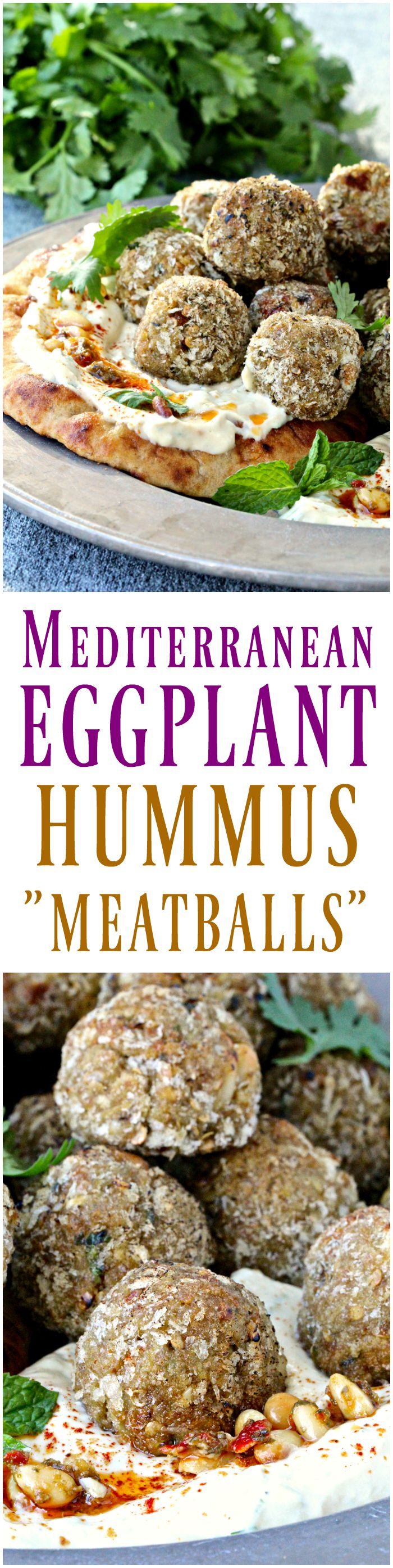 "#ad Mediterranean Eggplant Hummus ""Meatballs"" | @foodiephysician"