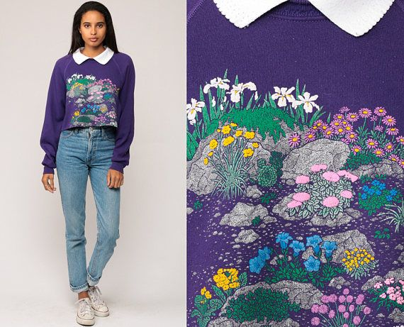 Cropped Sweatshirt Floral GARDEN Print 80s RAGLAN Sleeve Graphic Collared Purple Jumper Slouchy Top 1980s Sweater Vintage Small Medium