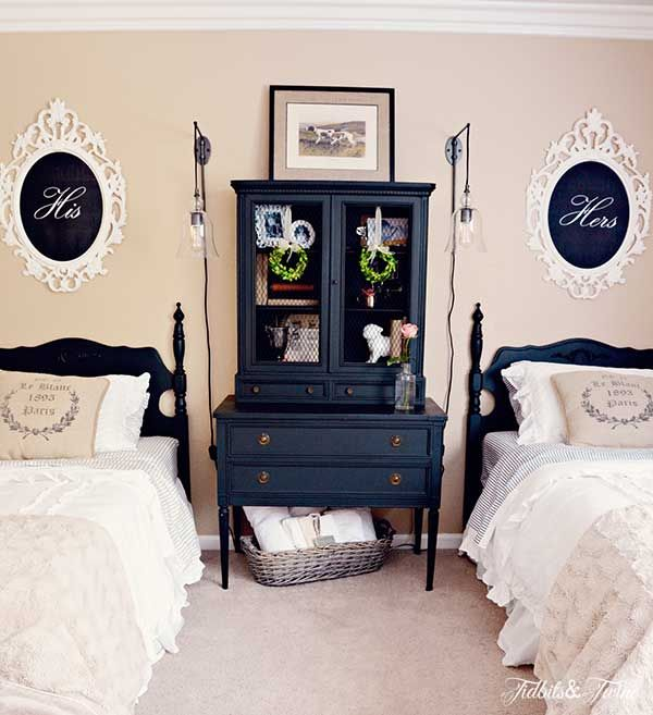 Makeover a guest bedroom with Craigslist furniture plus a dramatic color scheme.