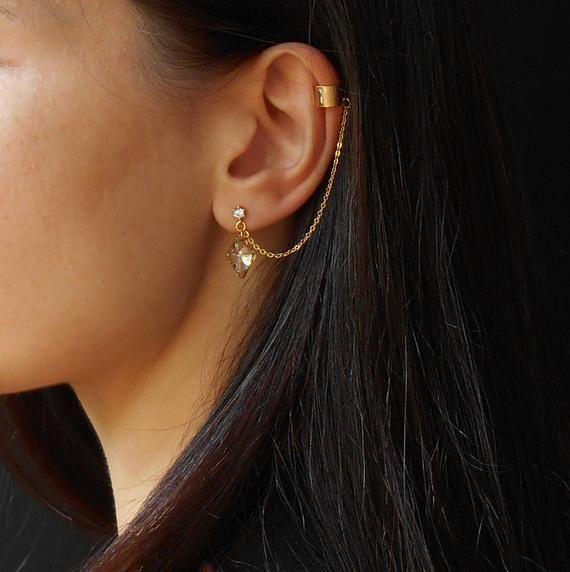 Earrings gift Long gray earrings Chain earring Earrings ear cuff Long chain earrings gray Earrings chains Dark gray earrings chain