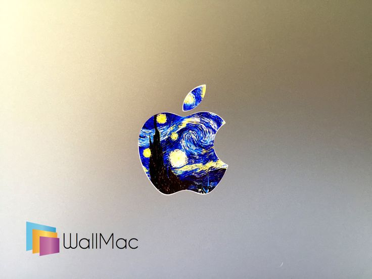 Starry Night Vincent Van Gogh Glowing Backlit Apple Logo for MacBooks 2 Decals Stickers per Order by WallMac on Etsy