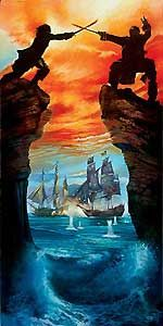 Pirates of the Caribbean - Caribbean Duel - John Rowe - World-Wide-Art.com - $495.00 #Disney #JohnRowe