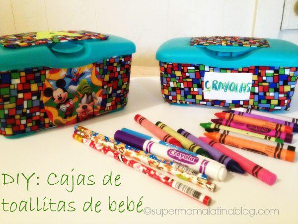 DIY: Cajas de toallitas de bebés reutilizalas para almacenar útiles escolares y más...