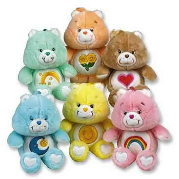 oh, i totally have all of these care bears! wish bear, friend bear, tenderheart bear, bedtime bear, funshine bear and cheer bear!