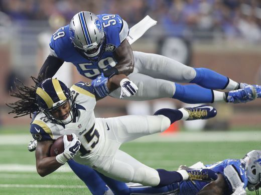 Rams vs. Lions:     October 16, 2016  -  31-28, Lions  -    Lions linebacker Tahir Whitehead tackles the Los Angeles Rams' Bradley Marquez during the first half Sunday, Oct. 16, 2016 at Ford Field in Detroit.  Kirthmon F. Dozier, DFP