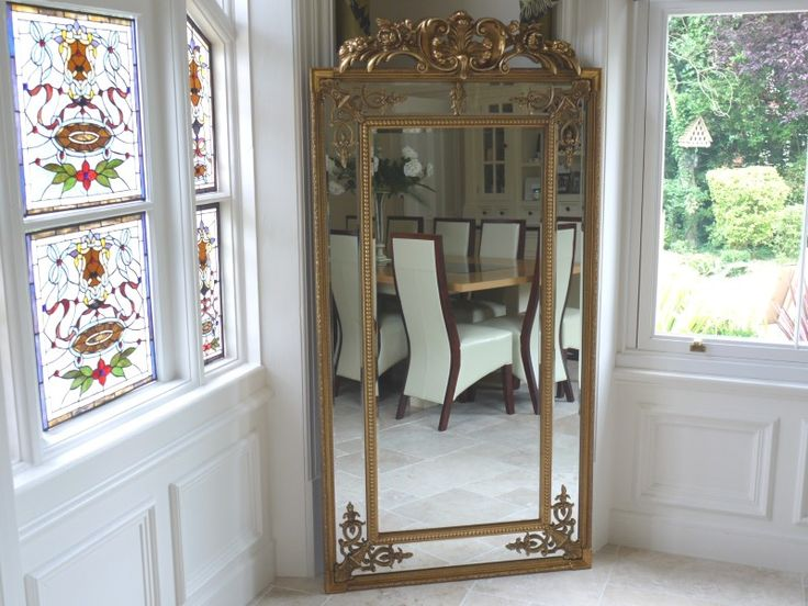 Extra Large Ornate Antique Gold Full Length Wall Mirror Ornate gold extra large wall mirror in a full length design, beautiful French style