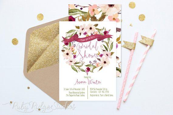 Printable Bridal Shower Invitation, Bohemian Botanicals Watercolor Floral, Hens Party, Kitchen Tea, DIY Printable Invitations