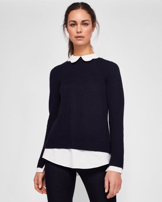 08bb1bd45 Must have - ted baker scallop collared sweater in navy