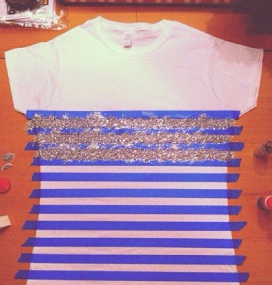 DIY sparkle shirt with puffy paints or loose glitter + textile medium and a fan brush.