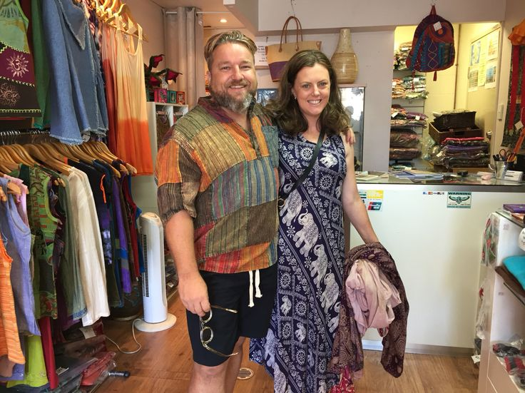 Mathew and Heidi, two super stars...biggest admirer and supporters of our unique clothing from Nepal #NepaleseClothing #HippieClothing #Pashmina #Felts