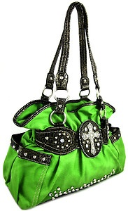 Western Rhinestone Cross Stud Bling Purse Handbag Lime Green | eBay