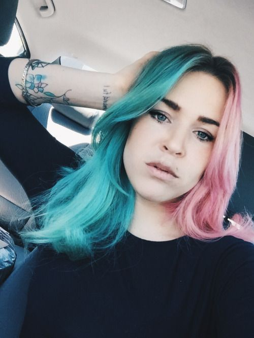 Short Hairstyles Dyed Image Result For Split Dye Side Part Split Dyed Hair