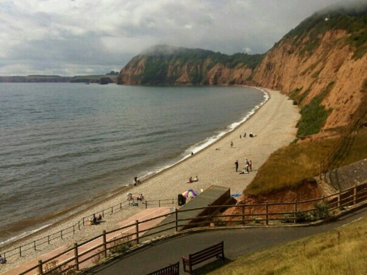 Sidmouth beach from the top of Jacobs Ladder - Sidmouth, English Channel coast of Devon, England