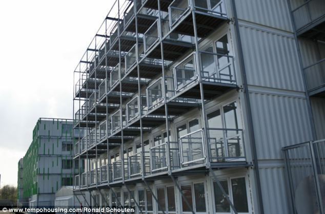 Container city: The stacked container homes have proved successful in Holland where they have housed the Amsterdam's student population
