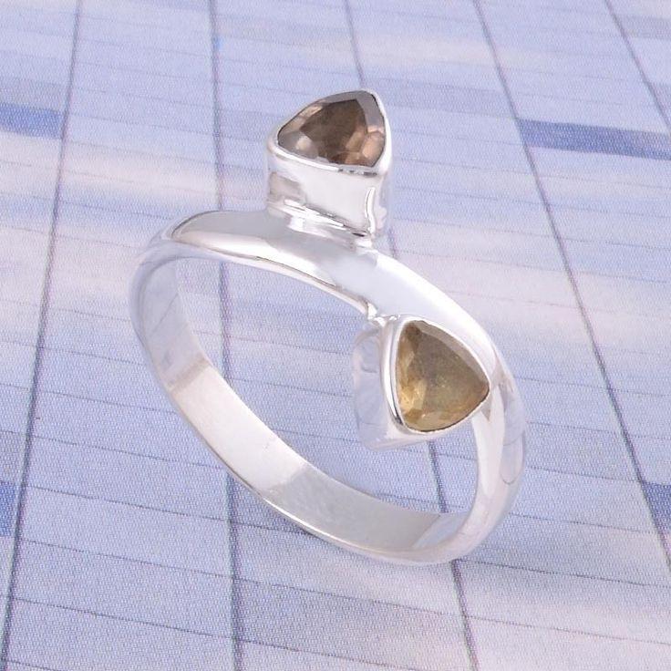 925 Solid STERLING SILVER GEMSTONE ANTIQUE Smokey & Citrine RING 3.11g DJR3505 #Handmade #Ring