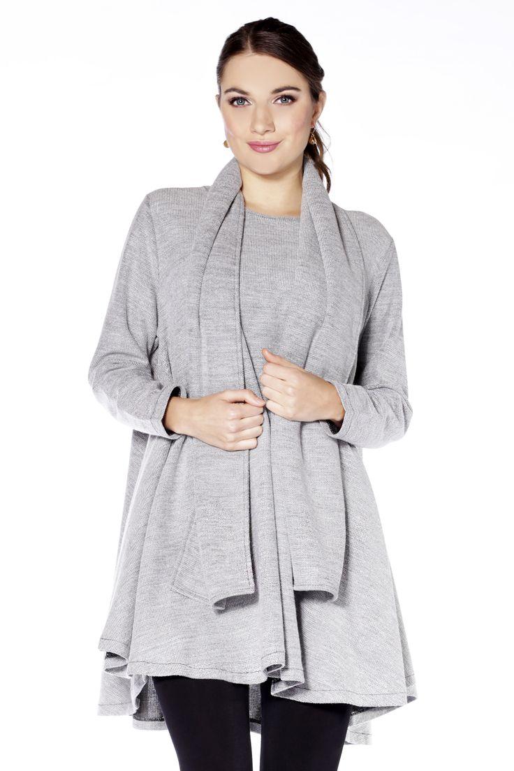 Draped Hem 2-Piece Pullover in Grey