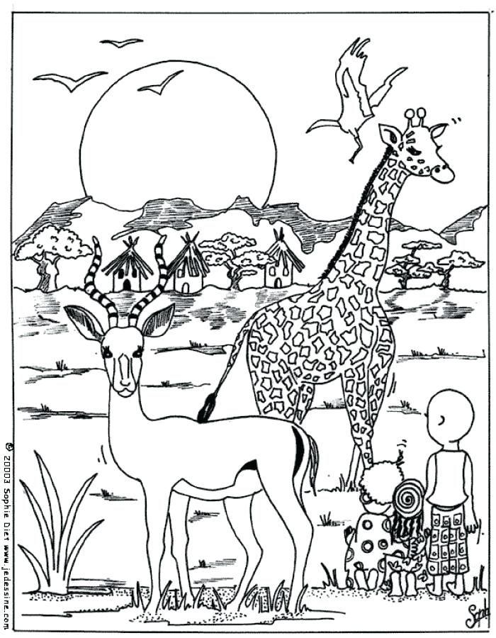 Coloriage Animaux Afrique Maternelle Supercoloriage Gambar