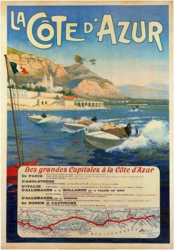 Vintage Travel Poster - La Côte d'Azur - Des Grandes Capitales à la Côte d'Azur.