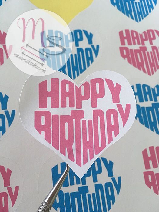 Cute Happy #Birthday Heart Stickers, small business, #labels, for you, #sticker, #PostalLabels, #Birthday, #Heart