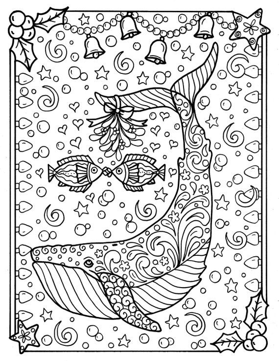 Whale Christmas Coloring Page Adult Coloring sea life
