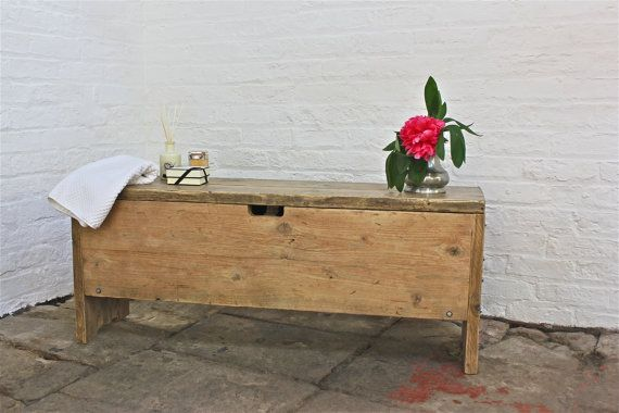 Reclaimed Scaffolding Board Storage Bench - Its salvaged vintage industrial design works perfectly in a sophisticated, casual living space.  This Storage Bench can be made to measure to your own specifications. The one pictured here is 1500mm wide x 440mm tall x 300mm deep... but the skys the limit... ... The reclaimed scaffolding boards pictured in this example were simply brushed down and sanded lightly so they retained their gorgeous mushroom colour as a result of their use on numerous…