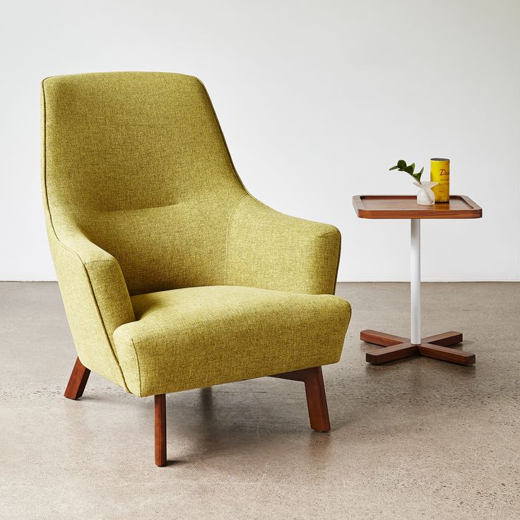 Hilary Chair - Bayview Dandelion & Axis End Table |  Combining fluid curves and tailored lines, the Hilary Chair is a contemporary take on mid-century Scandinavian style. | Gus* Modern
