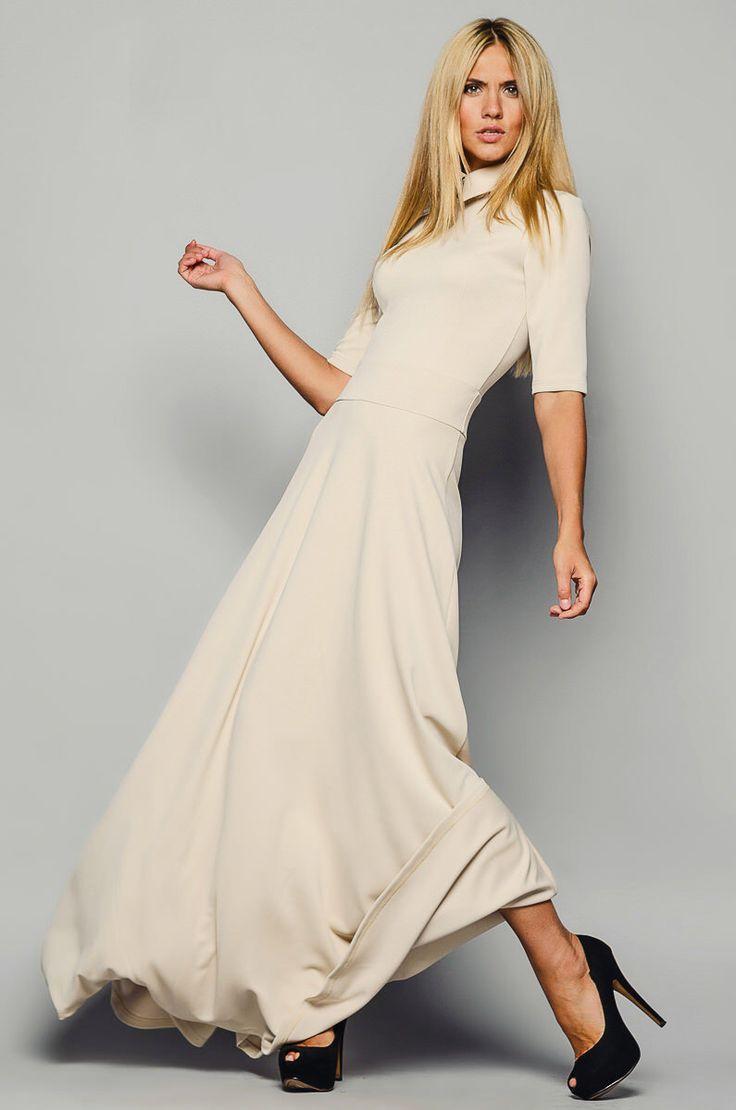 "Beige maxi dress Romantic maxi dress ""Jessica"" Beige smart casual dress Maxi dresses Summer dress Spring dress Autumn dress for women by Znaidy on Etsy https://www.etsy.com/listing/235526563/beige-maxi-dress-romantic-maxi-dress"