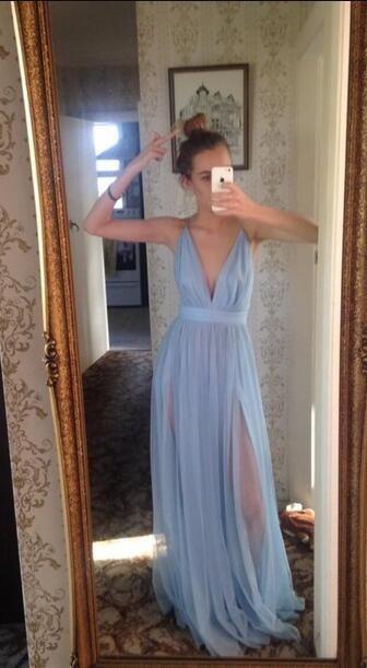 Custom Made V-Neck Chiffon Prom Dresses,Cheap Prom Dresses,Evening