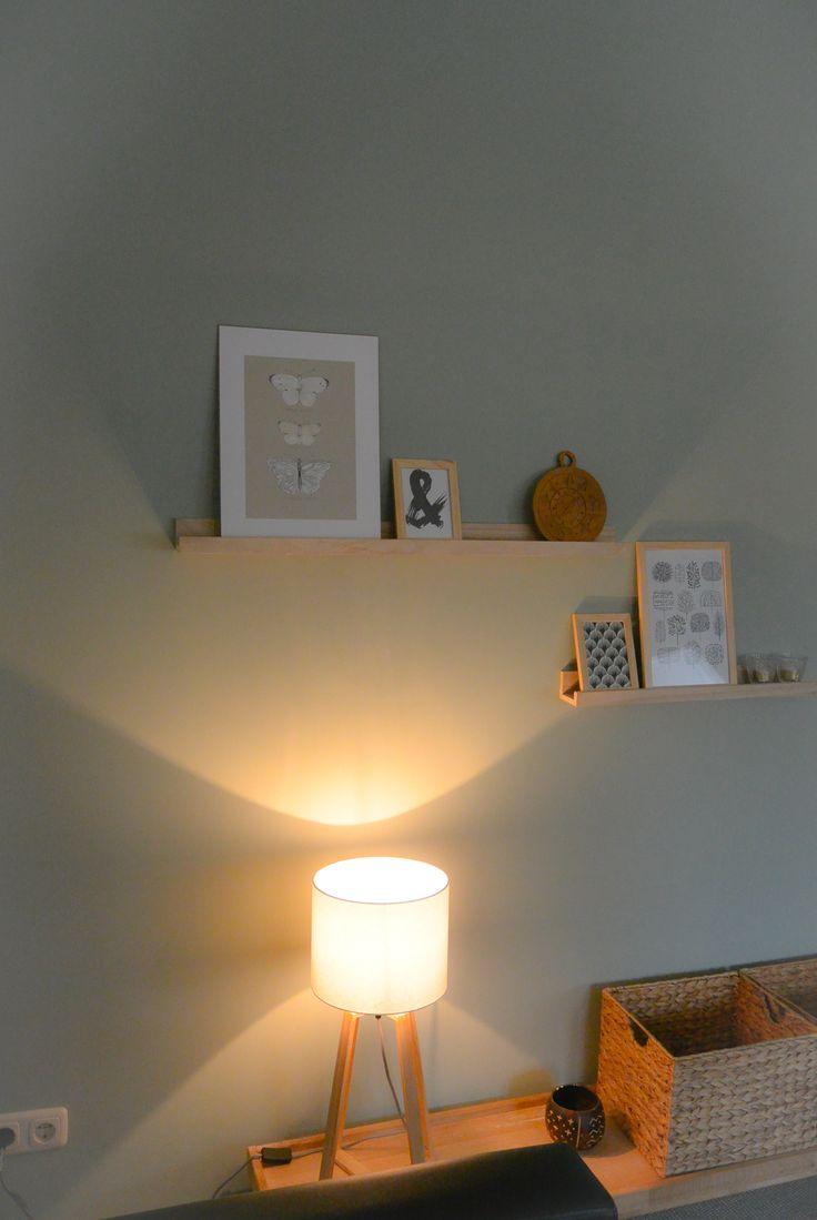 Appartement 1. Lamp en plankjes (Xenos), manden (Jysk), tafel en bord(kringloop), fotolijstjes (Hema), print vlinder (Ikea), anderen prints van internet