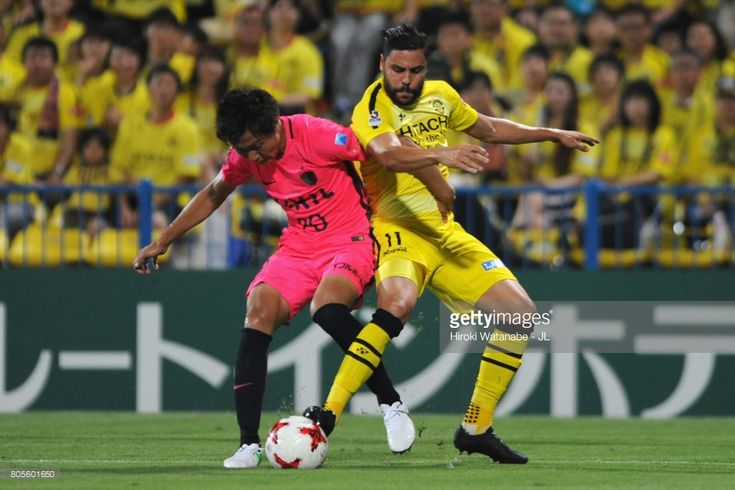 Diego Oliveira of Kashiwa Reysol and Kento Misao of Kashima Antlers compete for the ball during the J.League J1 match between Kashiwa Reysol and Kashima Antlers at Hitachi Kashiwa Soccer Stadium on July 2, 2017 in Kashiwa, Chiba, Japan.